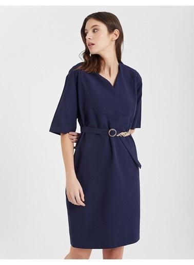 BGN Bgn V Yaka  Poplin Kadın Elbise Lacivert